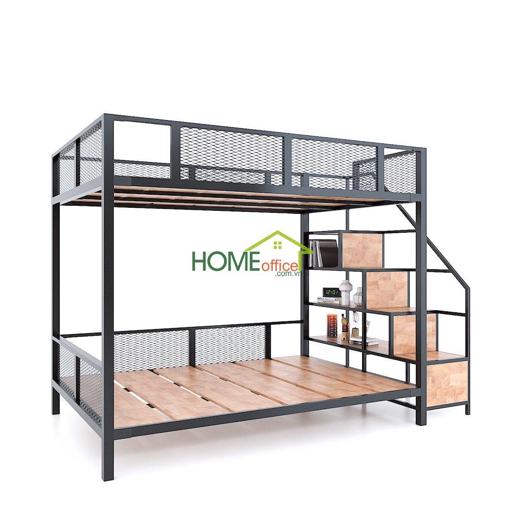 giường tầng gỗ cao su khung sắt hiện đại
