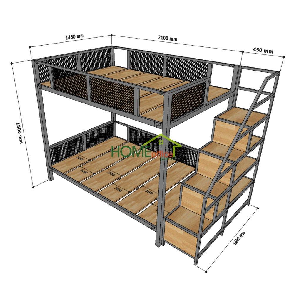 Kích thước giường tầng kết hợp kệ trang trí GT010