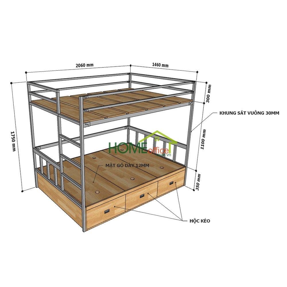 Giường tầng 140x200cm kết hợp hộc tủ gỗ cao su tự nhiên