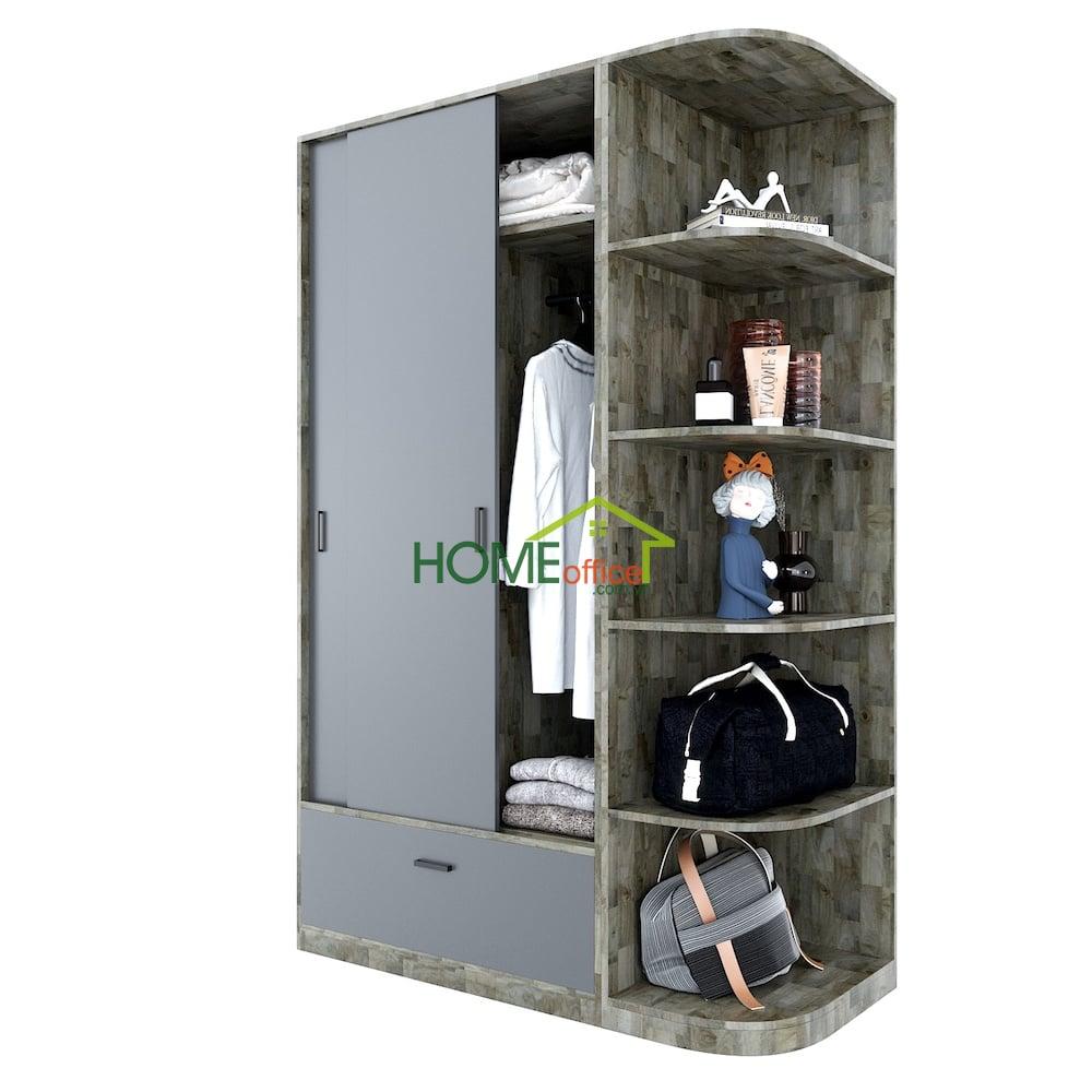 module tủ quần áo hiện đại kết hợp kệ trang trí