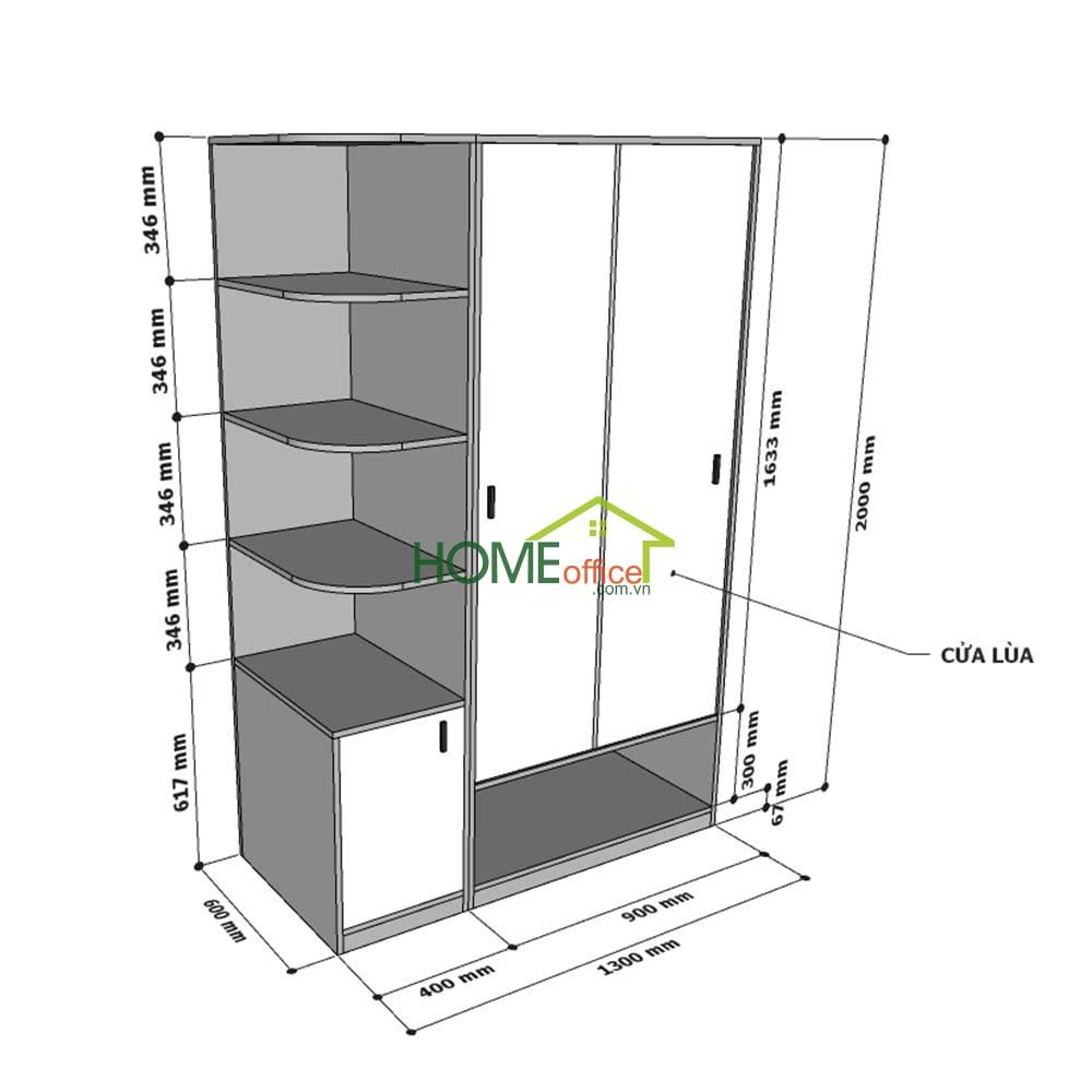Kích thước module tủ quần áo TQA68038