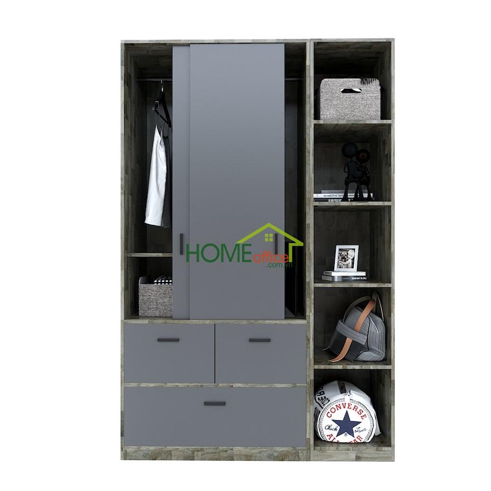 module tủ quần áo gỗ tự nhiên kết hợp trang trí