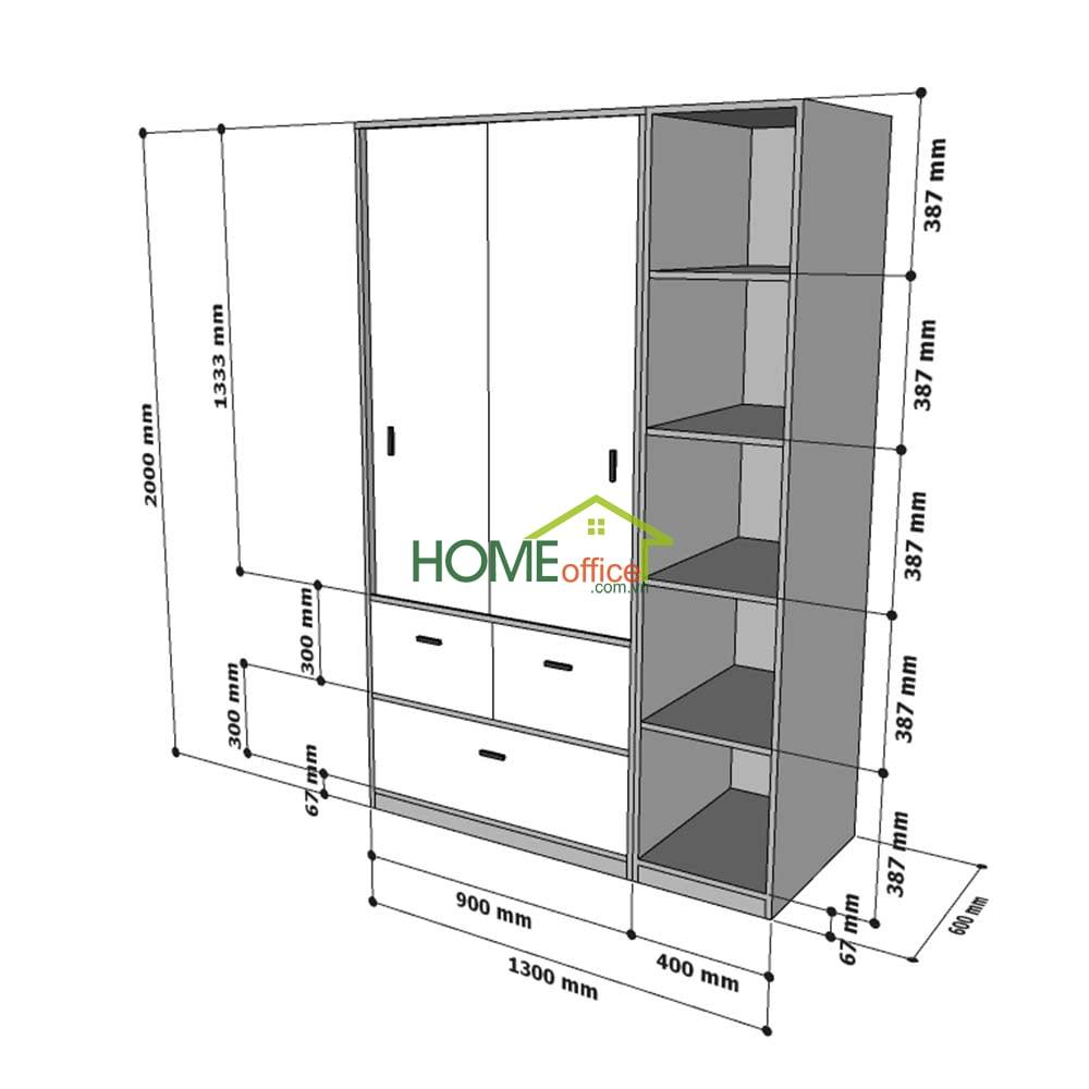 Kích thước module tủ quần áo TQA68040