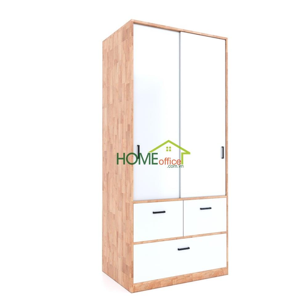 Tủ quần áo cửa lùa có hộc kéo gỗ cao su
