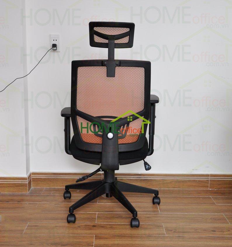 Ghế xoay văn phòng lưng lưới có tựa đầu chống mỏi màu cam