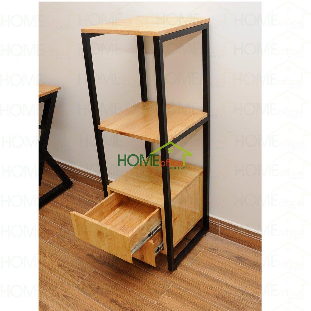 Kệ tủ gỗ mini khung chân sắt