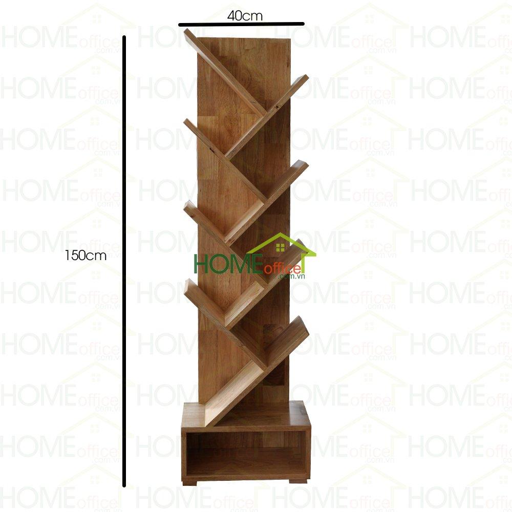 Kệ sách đứng hình cây bằng gỗ cao su cao cấp, kích thước của kệ sách phù hợp trang trí nhiều không gian