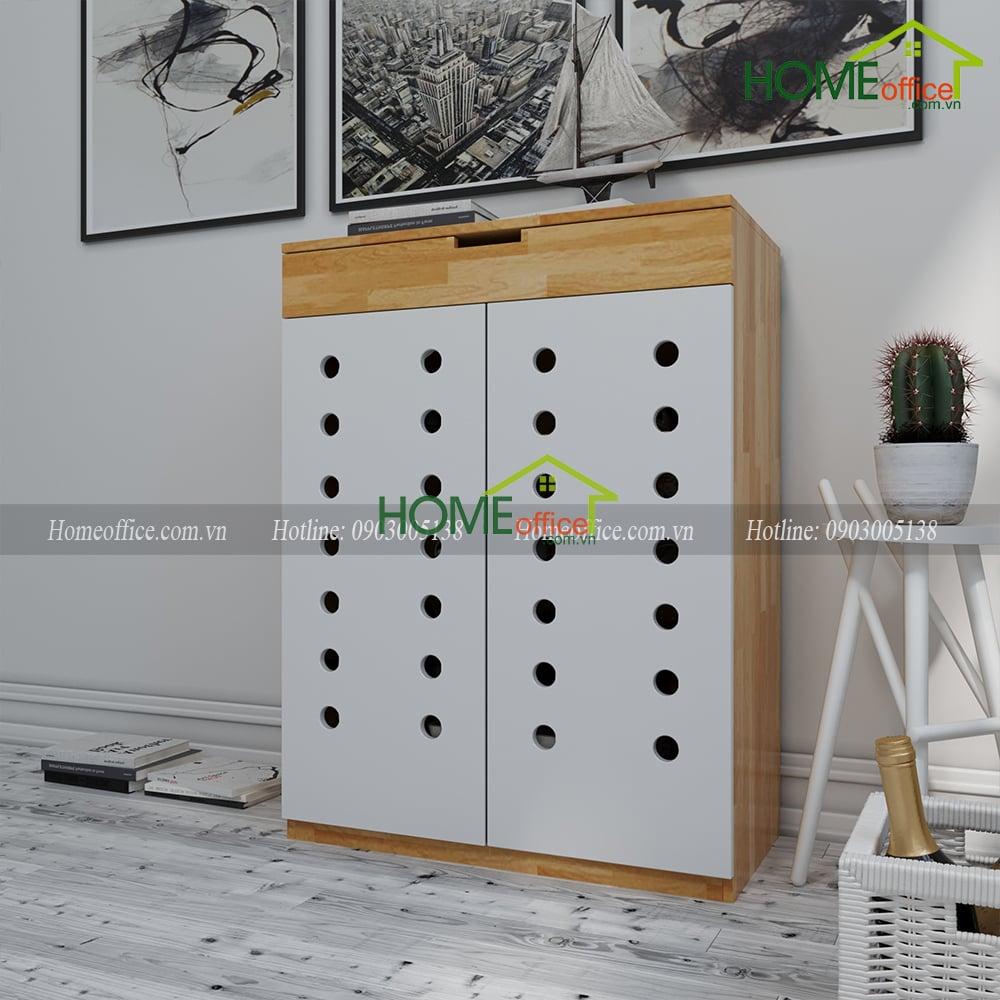 Tủ để giày dép bằng gỗ cao su 4 tầng - Mã SP:KG68008