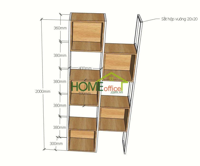Kệ trang trí khung sắt treo kệ gỗ ô vuông