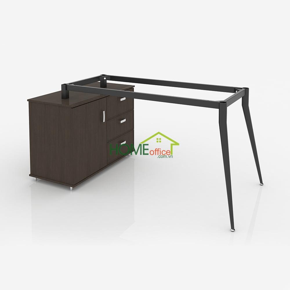 CVPC009 - Chân ống côn bàn giám đốc kết hợp tủ hồ sơ văn phòng góc chữ L (không gồm tủ)