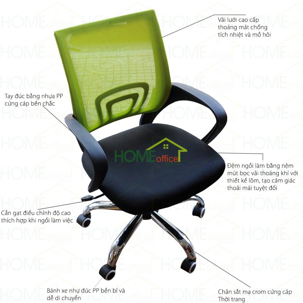 HOH602AXL - Ghế xoay nhân viên văn phòng lưng lưới màu xanh