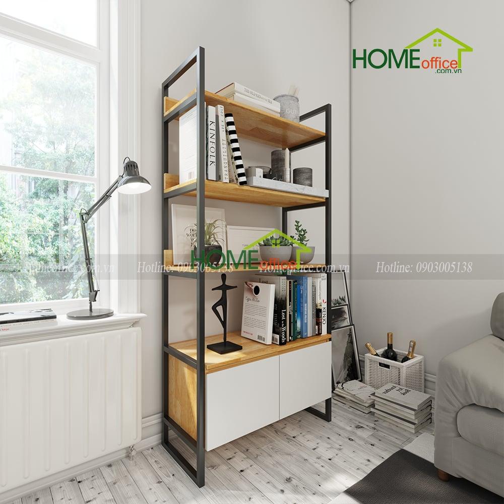 Kệ tủ trưng bày khung kệ sắt chất liệu gỗ cao su đơn giản