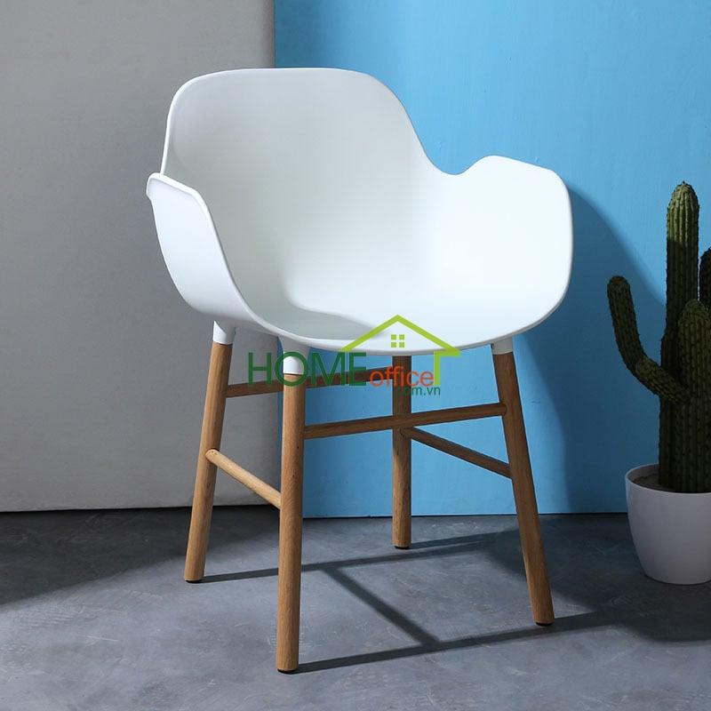 Ghế nhựa chân gỗ sồi