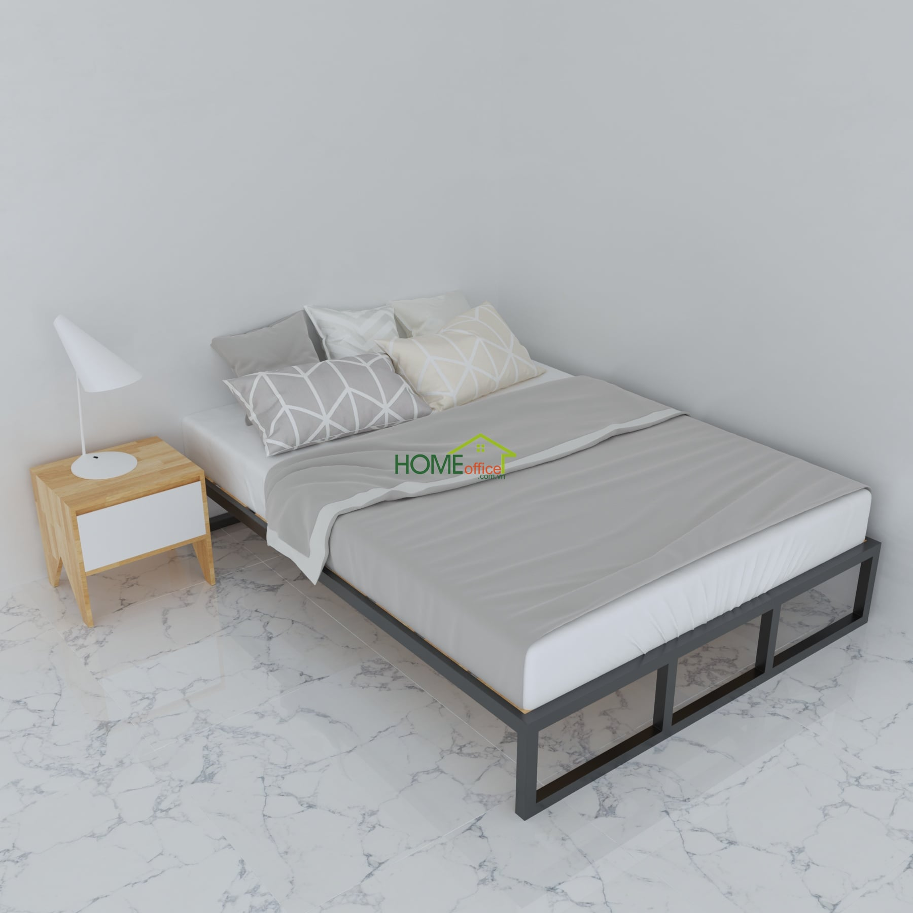 giường khung sắt lắp ráp