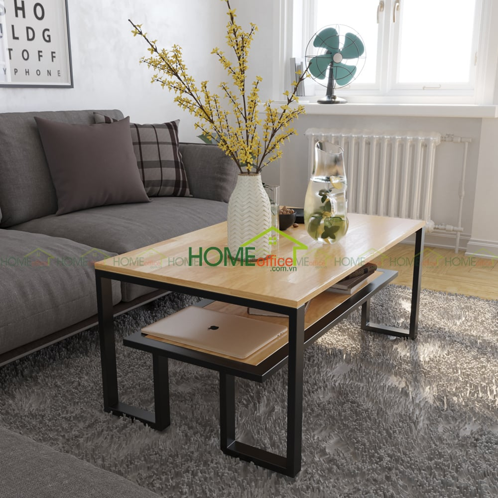 Bàn sofa gỗ cao su khung sắt