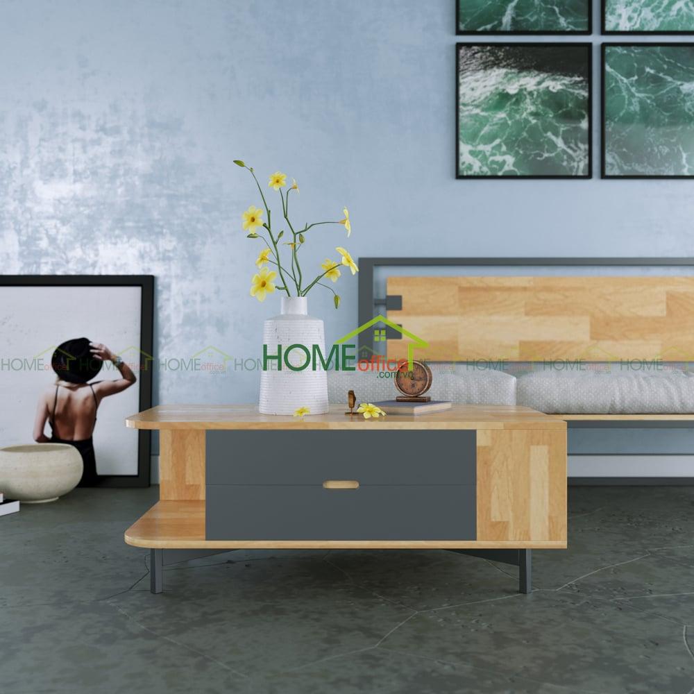 Bàn Sofa gỗ hiện đại Ferro 2 ngăn kéo TT68010
