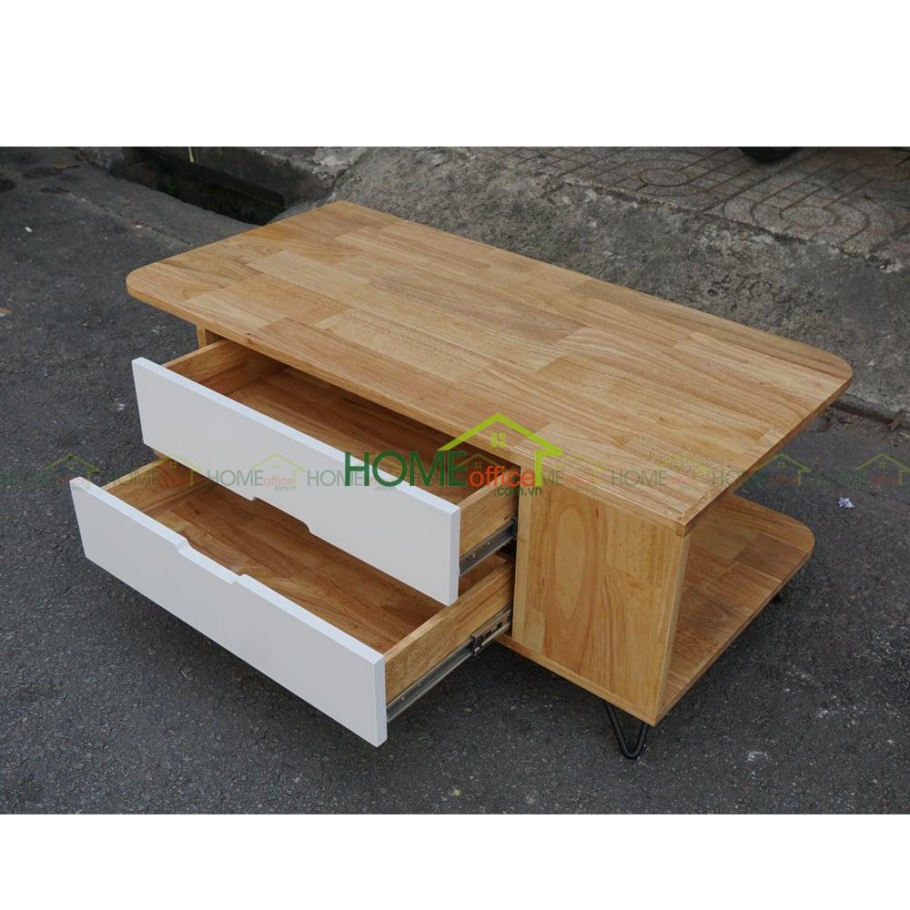 Bàn sofa hiện đại bằng gỗ PINLEG 2 ngăn kéo TT68011