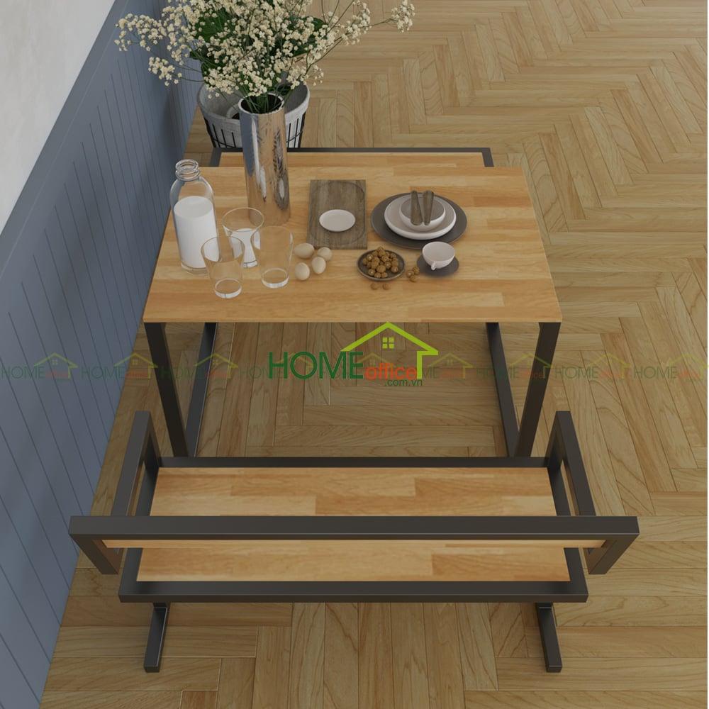Bộ bàn ghế ăn SAHO khung chân sắt chữ I CBPA003