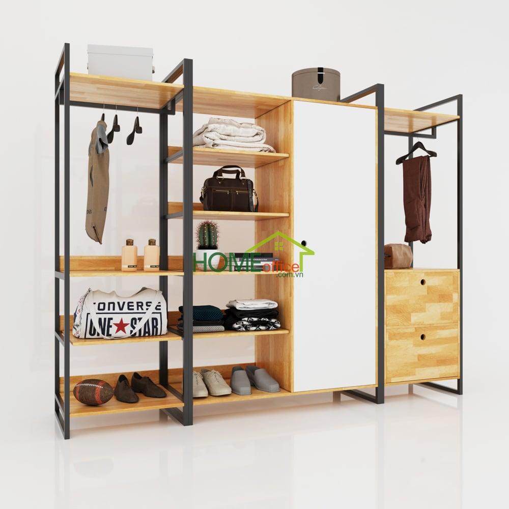 Tủ quần áo gỗ kết hợp khung sắt