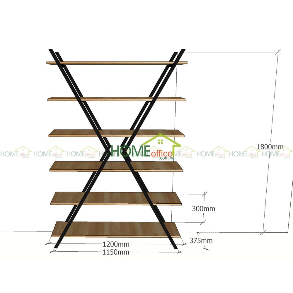 kích thước kệ sắt trang trí mặt gỗ