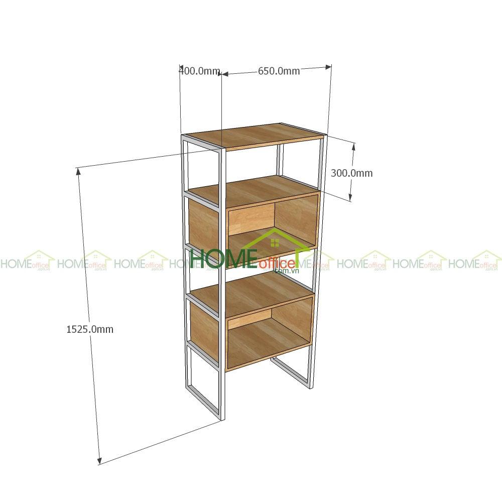 Kệ gỗ trang trí khung sắt 3 tấng có hộc tủ KS68036