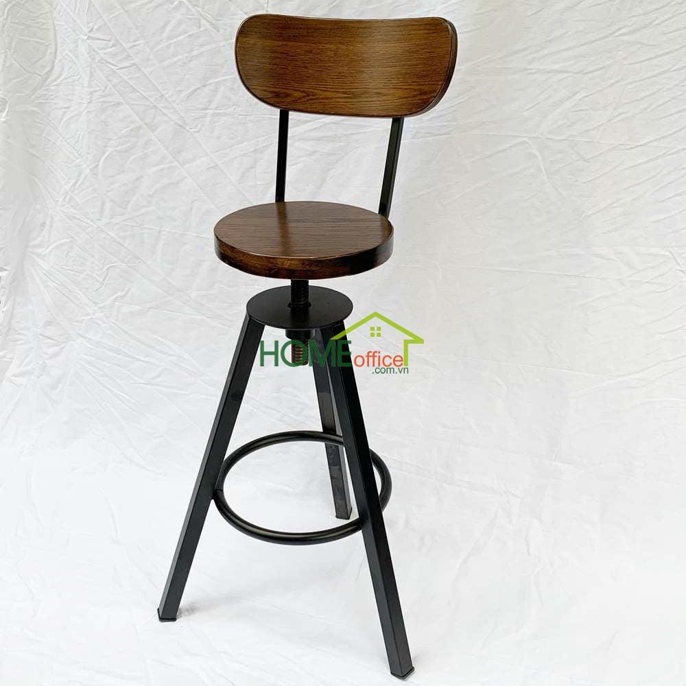 Ghế cafe gỗ chân sắt lap dẹp