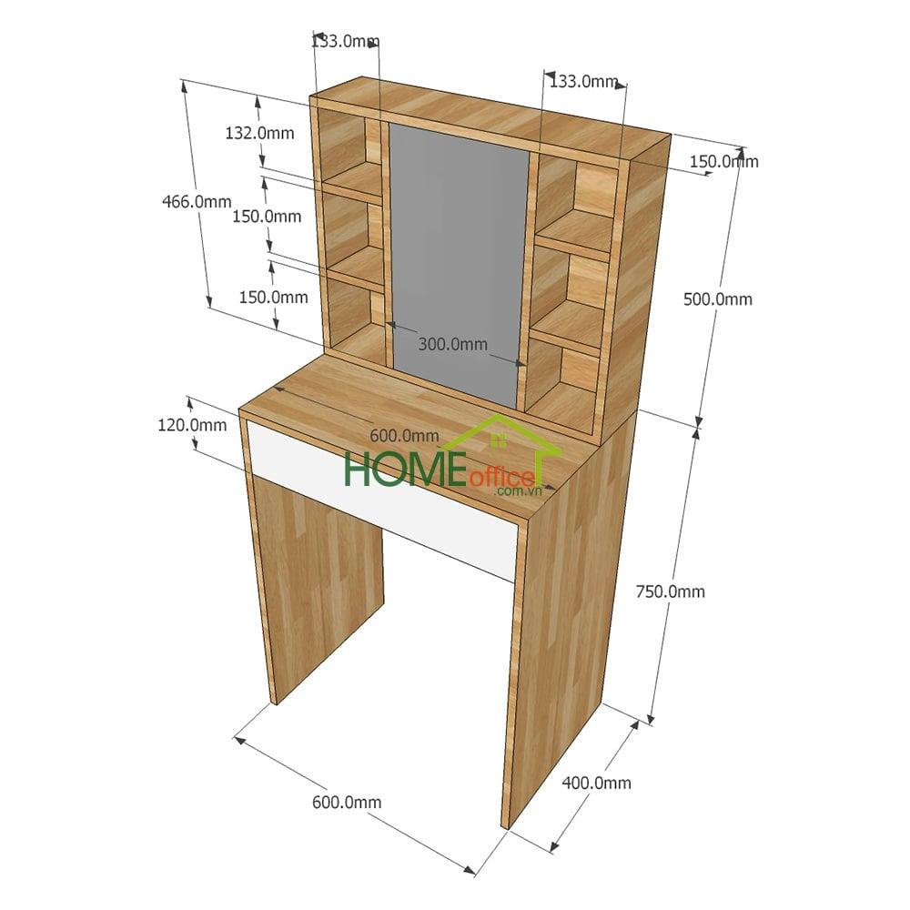 kích thước bàn phấn gỗ