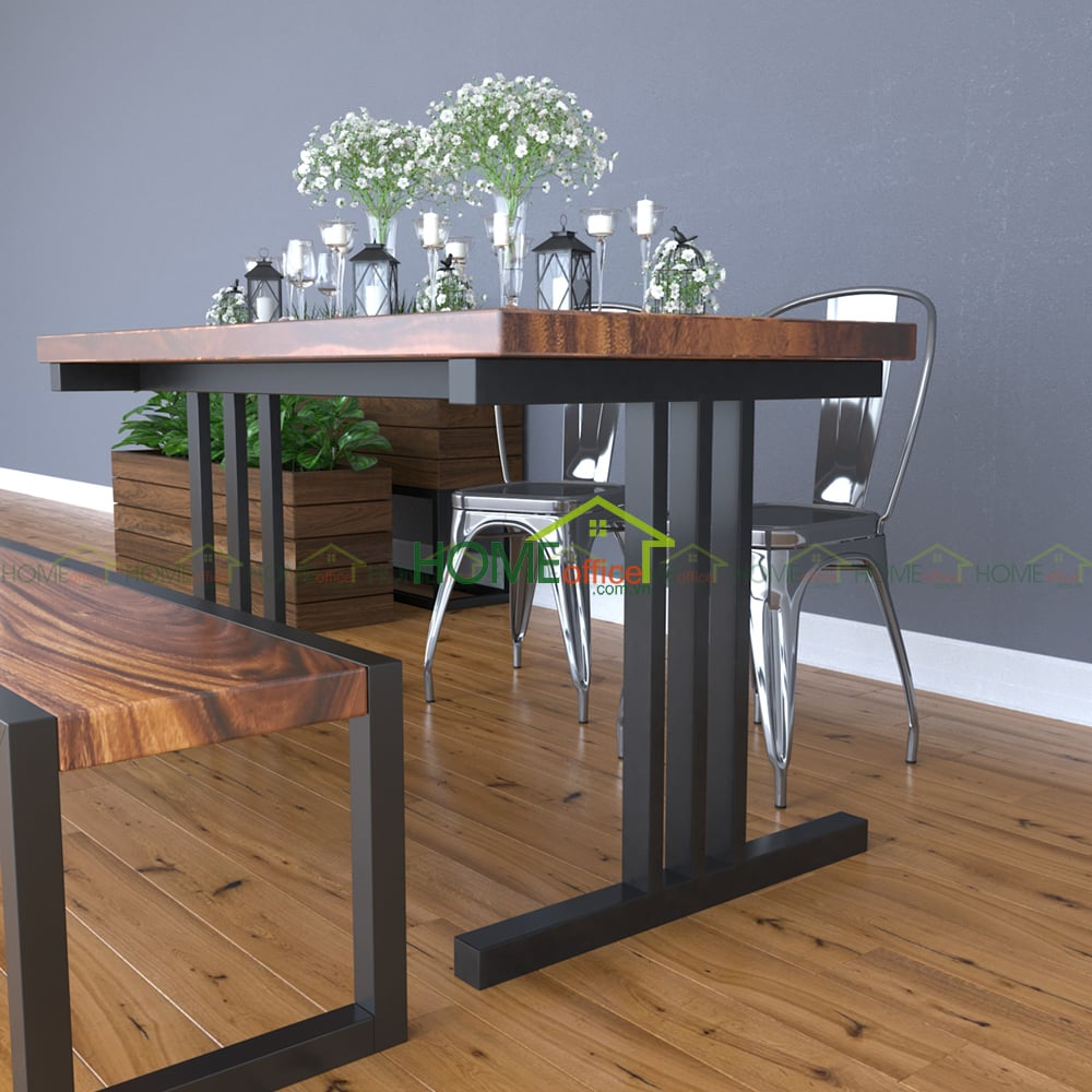 bộ bàn phòng ăn gỗ me tây