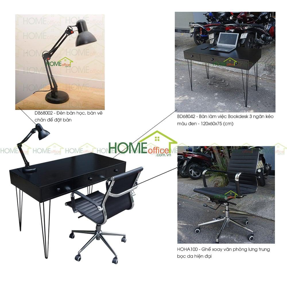 bộ bàn ghế học sinh có kệ sách một bên đẹp 120x60x75 (cm) - Home Office