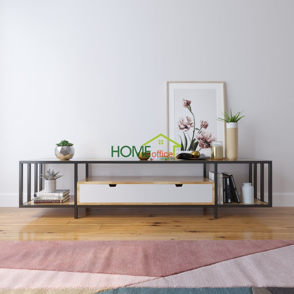 Kệ tivi gỗ kết hợp khung sắt